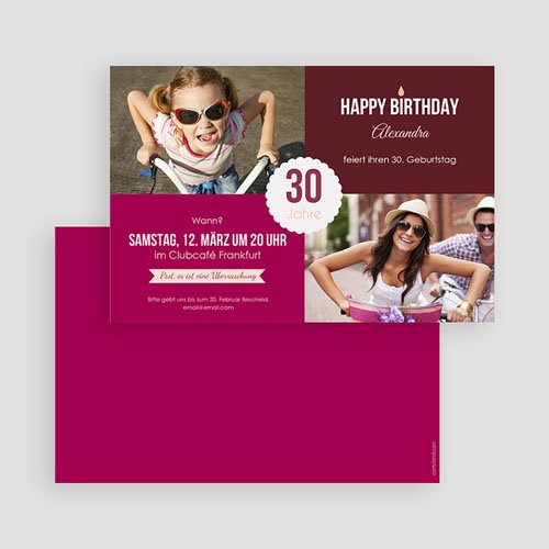 Erwachsener Einladungskarten Geburtstag Weinrot gratuit