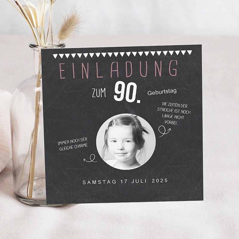 Erwachsener Einladungskarten Geburtstag Tafelkreide 90 Jahre