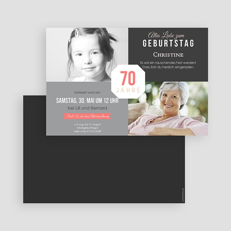 Erwachsener Einladungskarten Geburtstag Damals und Heute gratuit
