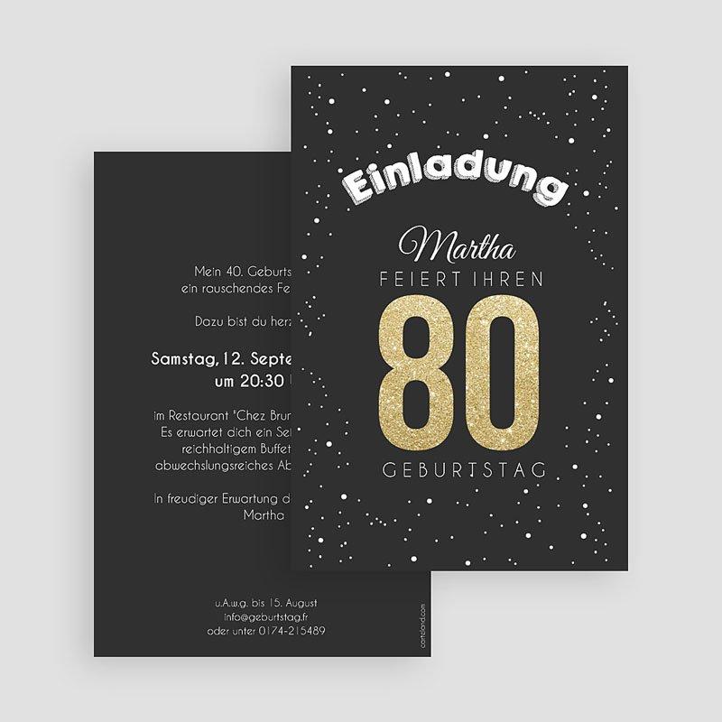 Erwachsener Einladungskarten Geburtstag Goldene 80 gratuit