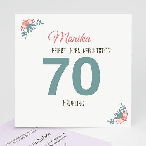 Erwachsener Einladungskarten Geburtstag 70 kleine Blumen