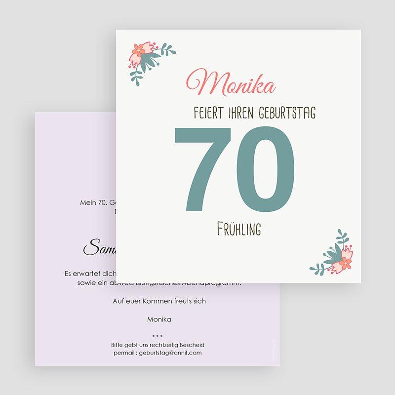 Erwachsener Einladungskarten Geburtstag 70 kleine Blumen gratuit