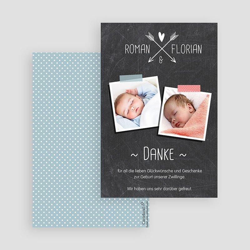 Dankeskarten Geburt für Jungen Tafeldesign neu gratuit