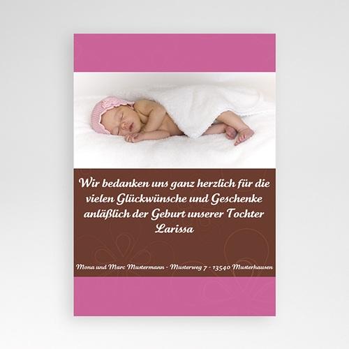 Dankeskarten Geburt Mädchen - Rose und Schokolade 4340 test