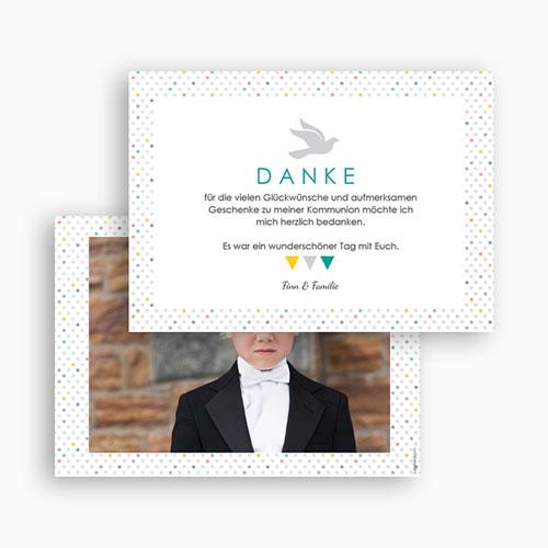Dankeskarten Kommunion Jungen - Bunte Fähnchen 43407 preview