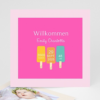 Geburtskarten für Mädchen - Sommer Baby - 0