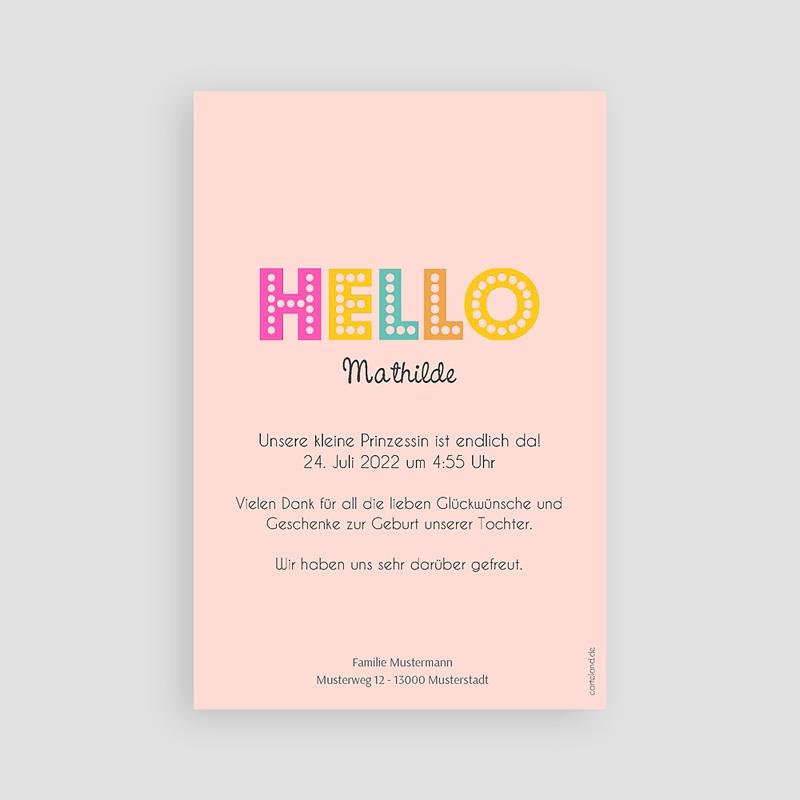 Geburtskarten für Mädchen Hello multifarben pas cher