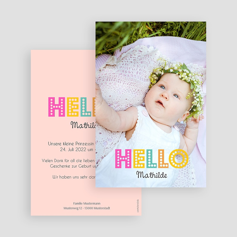 Geburtskarten für Mädchen Hello multifarben gratuit