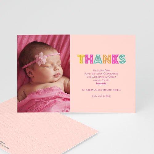 Dankeskarten Geburt Mädchen - Hello multifarben 43553