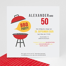 Einlegekarte Anniversaire adulte BBQ Party