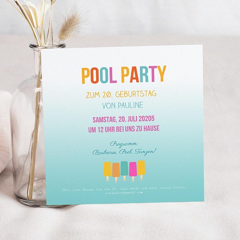 Erwachsener Einladungskarten Geburtstag Pool Party