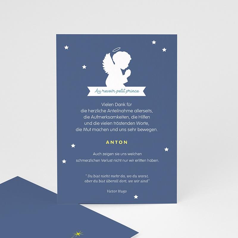 Weltlich Dankeskarten Trauer Engel blau