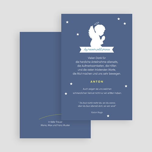 Weltlich Dankeskarten Trauer Engel blau gratuit