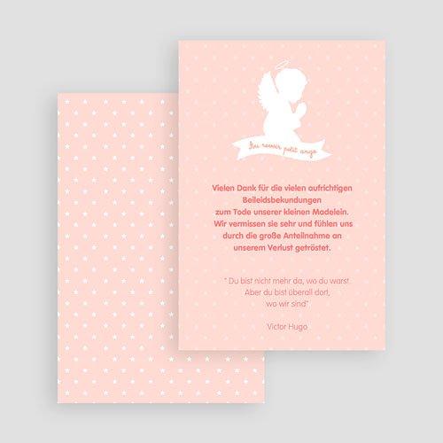 Weltlich Dankeskarten Trauer Kleiner Engel rosa gratuit