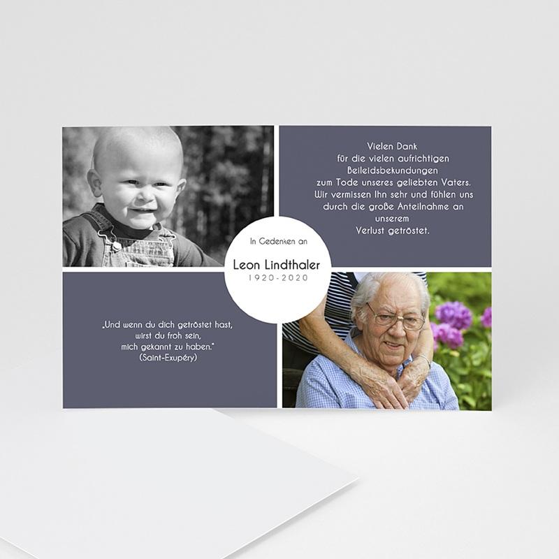 Weltlich Dankeskarten Trauer Abschied in Anthrazit