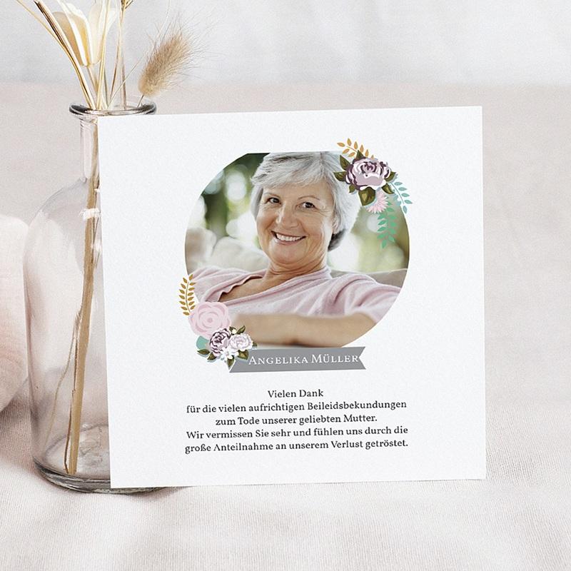 Weltlich Dankeskarten Trauer Portrait