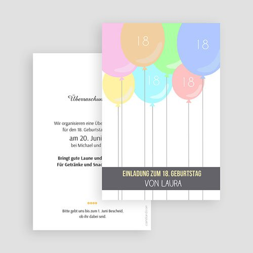 Erwachsener Einladungskarten Geburtstag Bunte Ballons gratuit