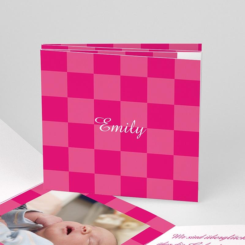 Geburtskarten für Mädchen Karodesign Rot