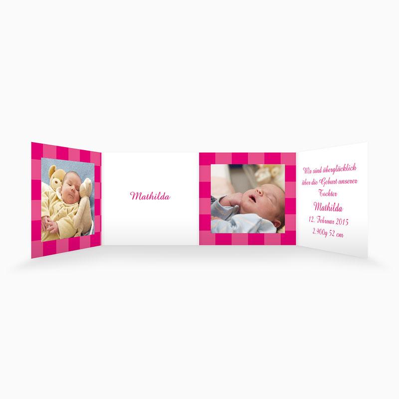 Geburtskarten für Mädchen - Karodesign Rot 4385 thumb