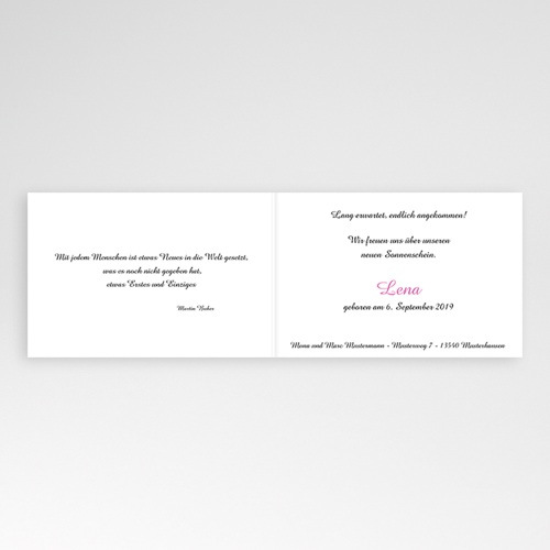 Geburtskarten für Mädchen - Fotoserie Rosa 4397 preview