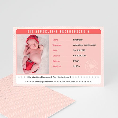 Geburtskarten für Mädchen - Personalausweis Mädchen 44056 test
