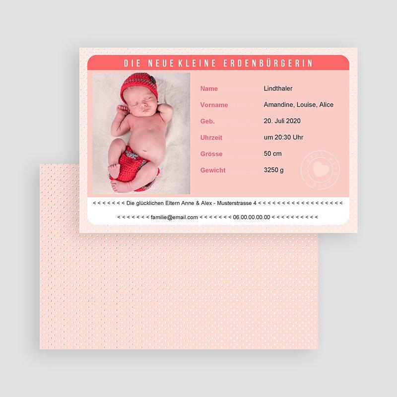 Geburtskarten für Mädchen Personalausweis Mädchen gratuit