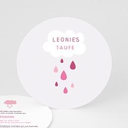 Einladungskarten Taufe Mädchen - Tropfen rosa - 0