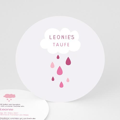 Einladungskarten Taufe für Mädchen Tropfen rosa