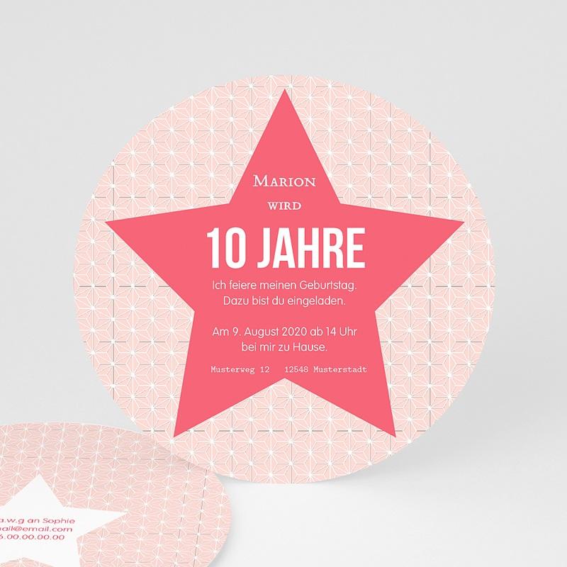 Schön Geburtstagseinladungen Mädchen   Stern Rosa   0