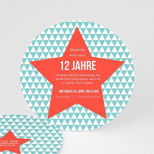 Einladungskarten Geburtstag Jungen Stern orange