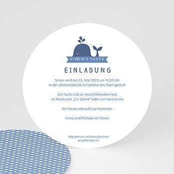 Einladungskarten Taufe Jungen  - Kleiner blauer Wal - 0