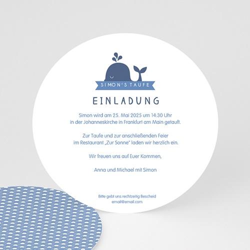 Einladungskarten Taufe für Jungen Kleiner blauer Wal
