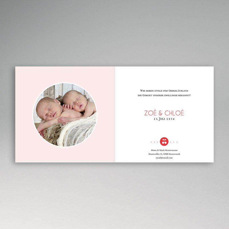 Geburtskarten für Zwillinge Kirschpaar pas cher