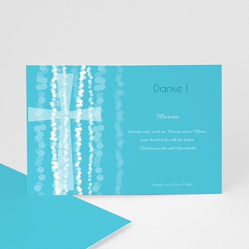 Dankeskarten Taufe Jungen - Taufkarte Kreuz 44332