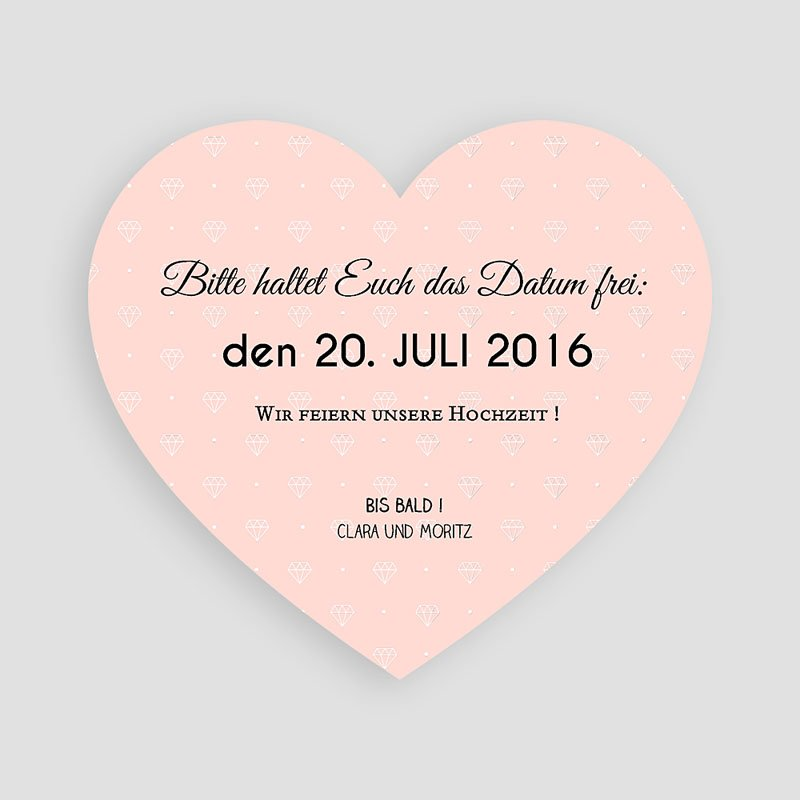 Save The Date Karten Hochzeit Herz und Diamant pas cher