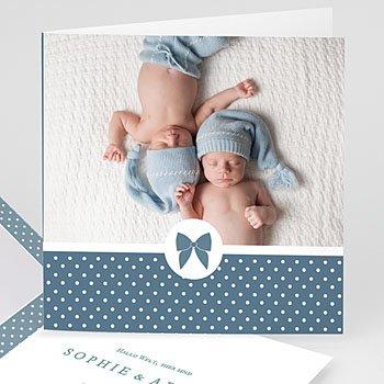 Geburtskarten für Jungen - Retro Blau - 0