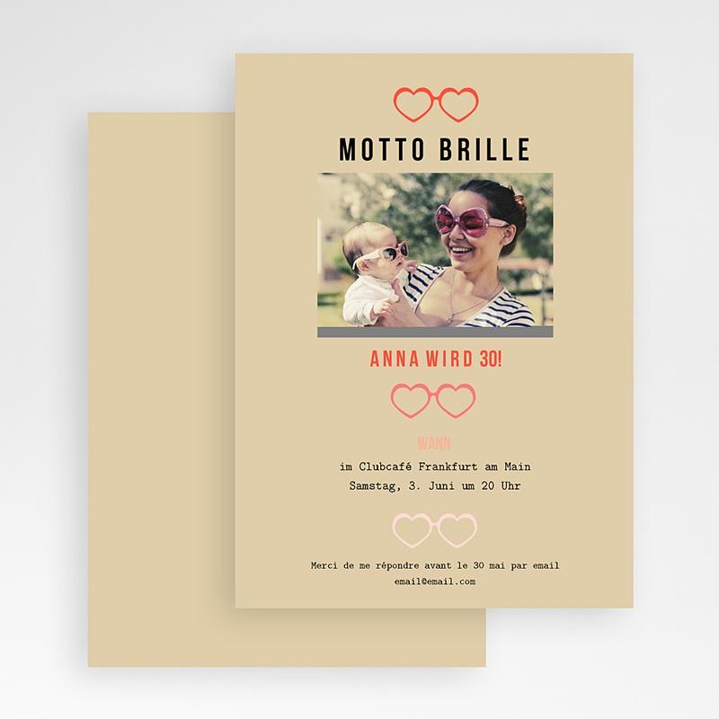 Erwachsener Einladungskarten Geburtstag Motto Brille gratuit