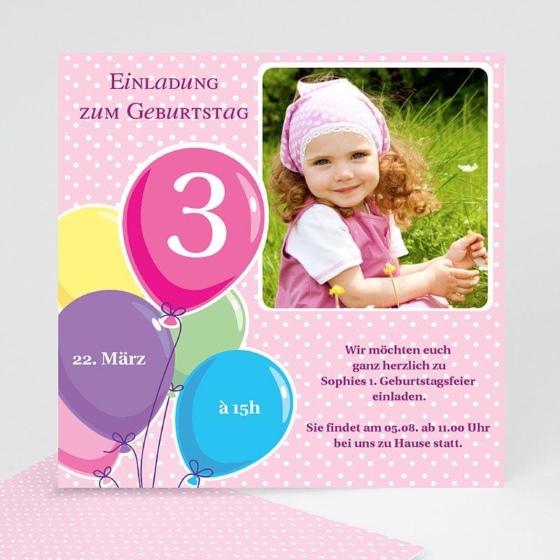 Einladungskarten Geburtstag Mädchen Luftballons