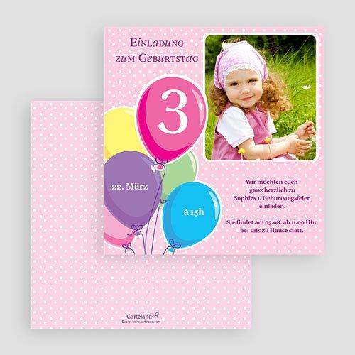 Einladungskarten Geburtstag Mädchen Luftballons gratuit