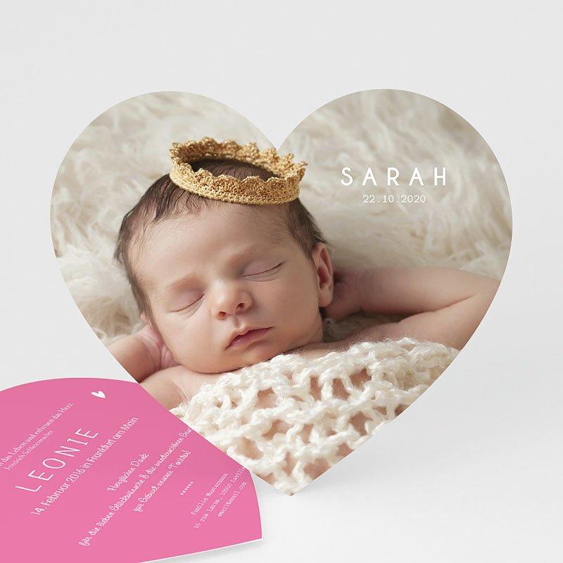 Geburtskarten mit Fotos Kleines Herz