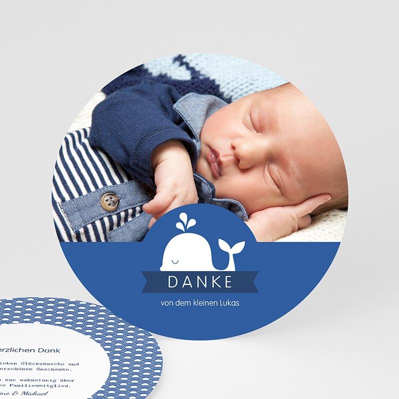 Dankeskarten Geburt für Jungen Kleiner Wal - Danke