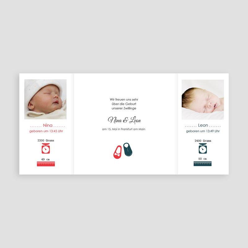 Geburtskarten für Zwillinge Retro Schick pas cher