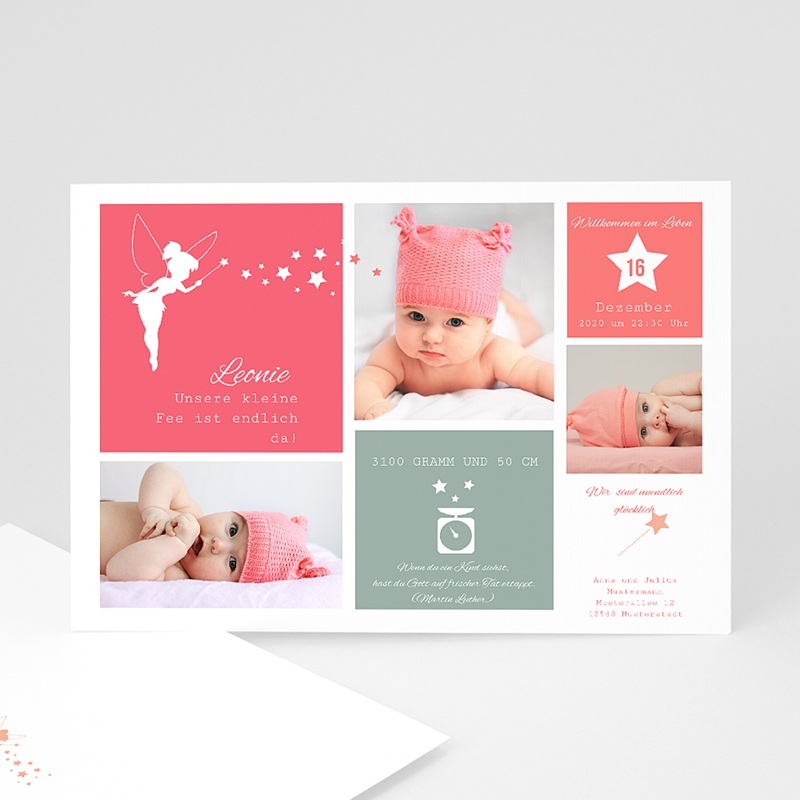 Geburtskarten für Mädchen Kleine Fee