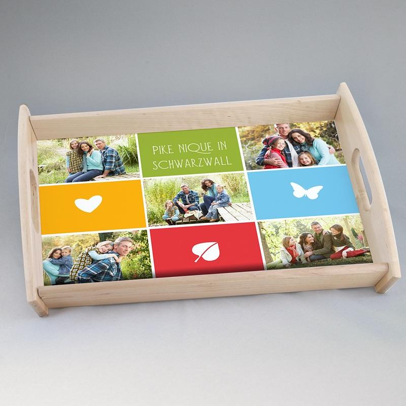 Personalisierte Foto-Tablett  Bunte Kästchen