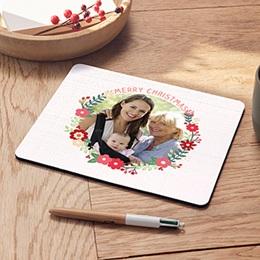 Mousepad Weihnachten Blumenkranz