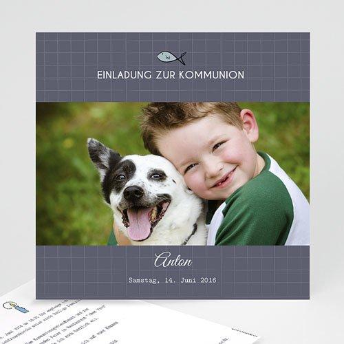 Einladungskarten Kommunion Jungen - Kleines Kreuz 45799 test