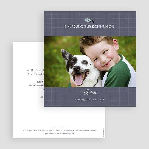Einladungskarten Kommunion Jungen - Kleines Kreuz 45801 test
