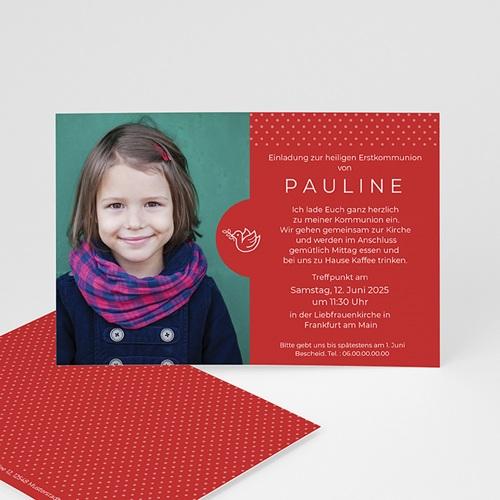 Einladungskarten Kommunion Mädchen - Rote Punkte 45826 thumb