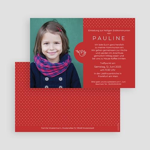 Einladungskarten Kommunion Mädchen - Rote Punkte 45828 thumb
