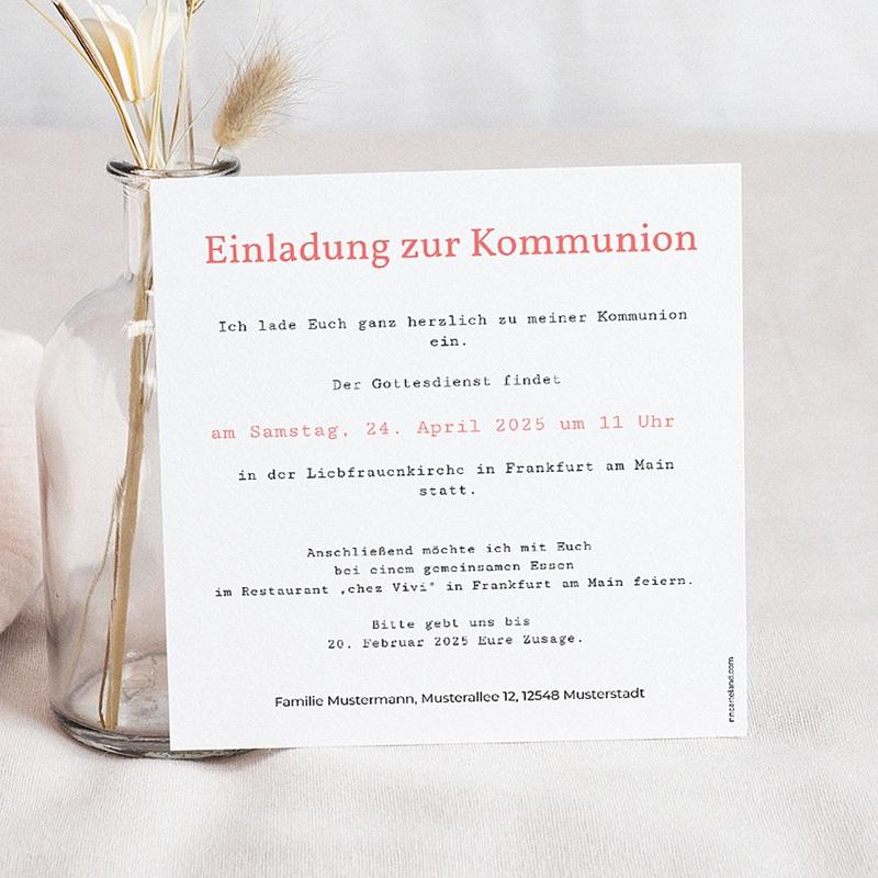 Einladungskarten Kommunion fur Mädchen Schlagzeilen pas cher